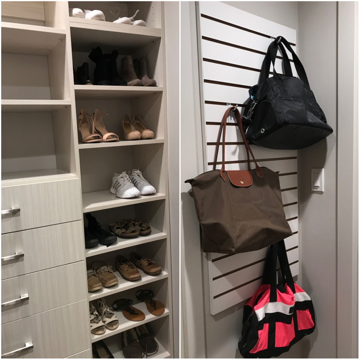 Quality closet storage can make all the difference in keeping kids and teens organized. This custom closet shelving, shoe rack and slatwall was designed for a student at Bishop Kelley High School.  Call Closets of Tulsa  today for a FREE consultation and 3-D closet design:  918.609.0214