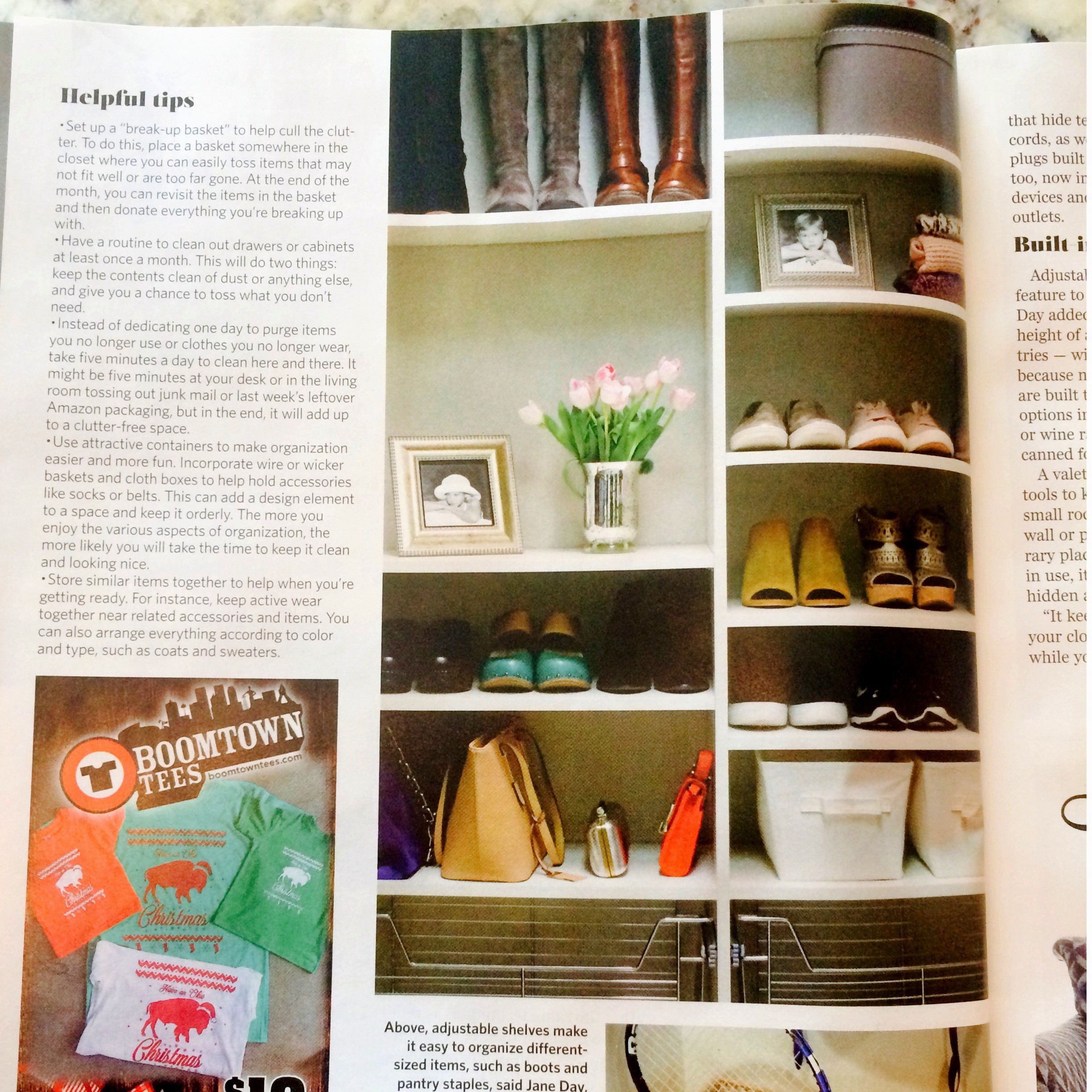 This custom closet shoe rack by Closets of Tulsa was featured in the winter issue of Tulsa World Magazine, along with many of our favorite storage tips!  Call Closets of Tulsa  today for a FREE consultation and 3-D closet design:  918.609.0214