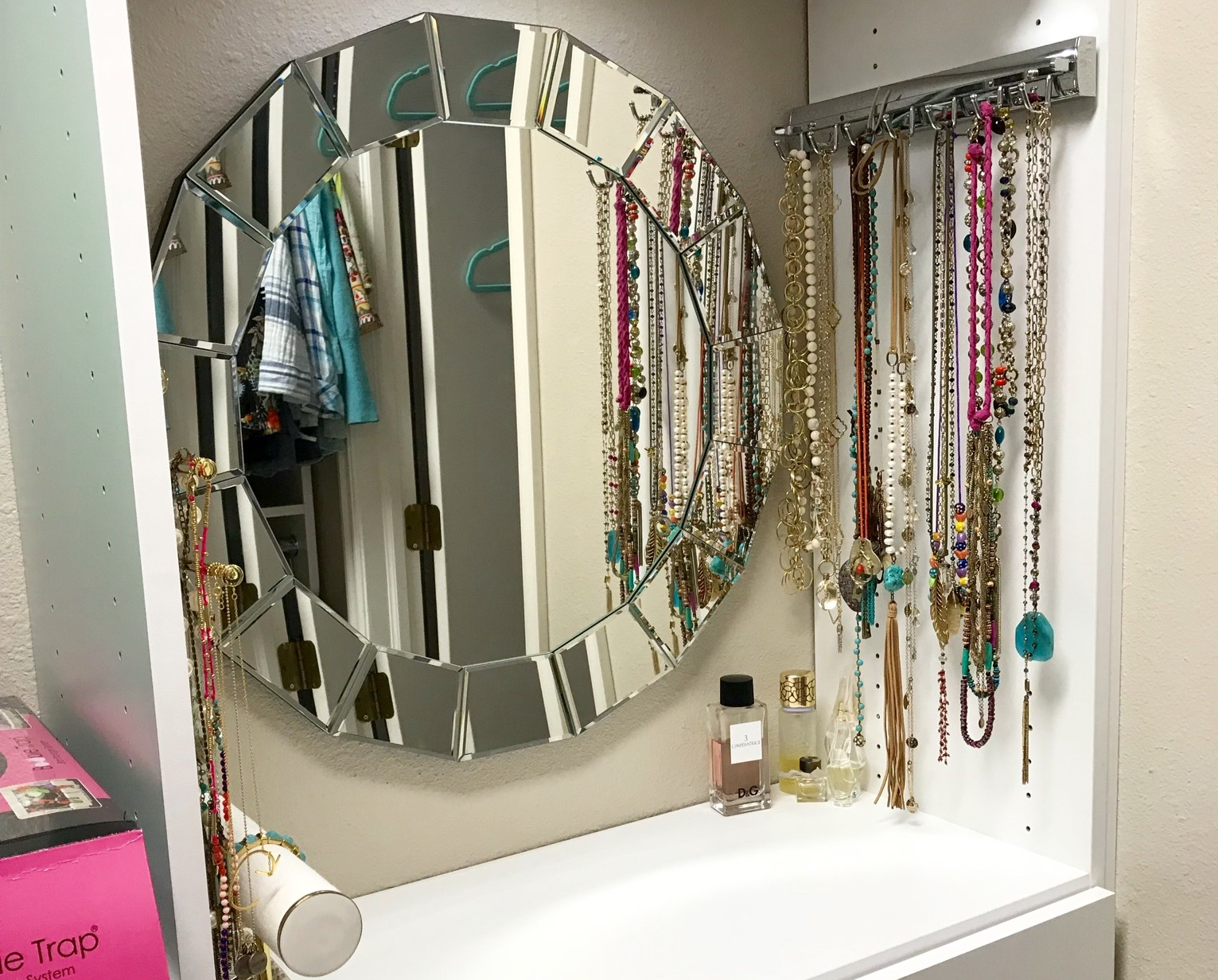 This custom closet vanity by Closets of Tulsa keeps jewelry and small accessories organized in style.  Call now  for your FREE consultation and 3-D closet design:  918.609.0214