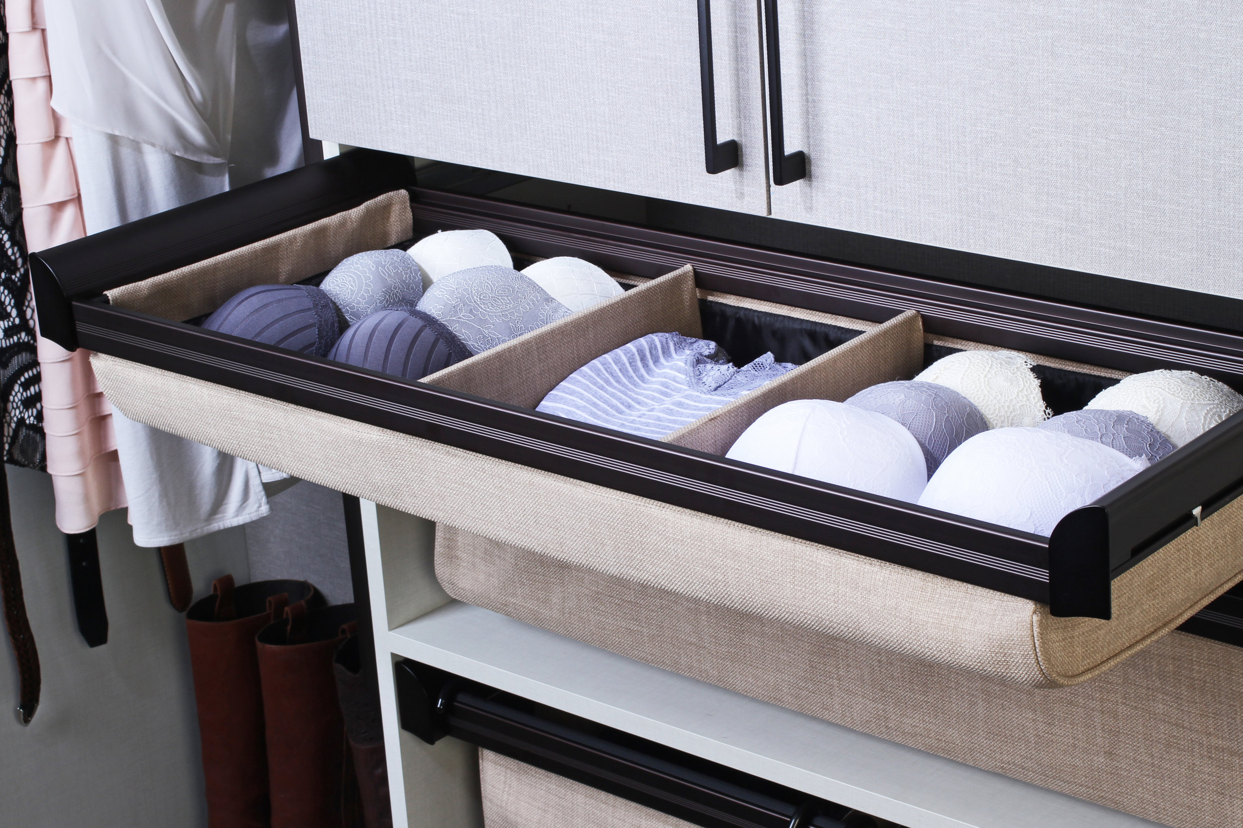 Closet drawer dividers keep clothing in neat stacks and rows.  Call Closets of Tulsa  now for your FREE consultation and 3-D closet design:  918.609.0214
