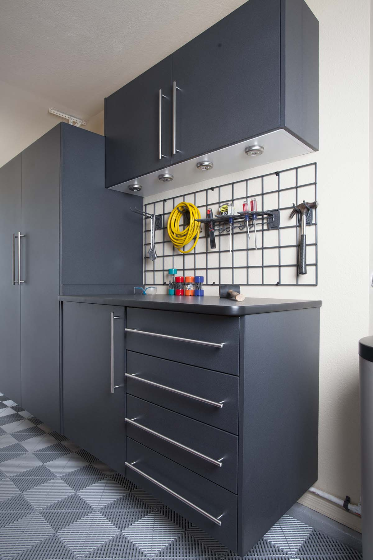 Charcoal Grey Garage Cabinets, Workbench and Tool Chest by Closets of Tulsa