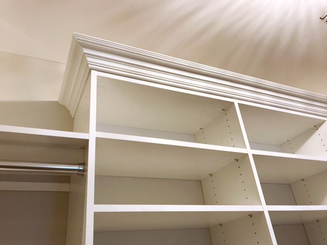 Custom crown molding by Closets of Tulsa makes brand new closet shelving feel timeless.  Call Closets of Tulsa  today for a FREE consultation and 3-D closet design:  918.609.0214