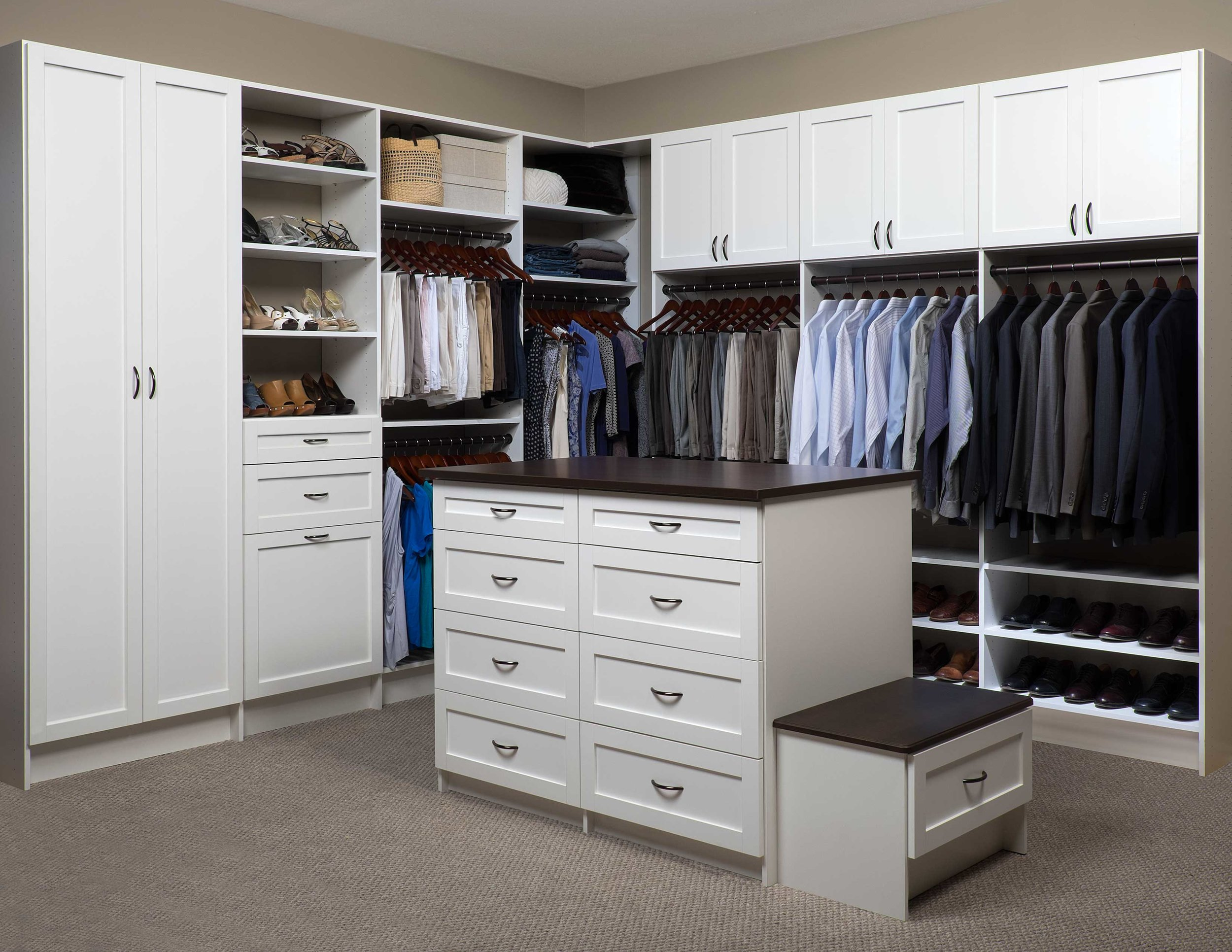 Closets of Tulsa incorporates closet drawers wherever space allows. A custom closet island is a beautiful way to maximize storage and efficiency.  Call now  for your FREE consultation and 3-D closet design:  918.609.0214