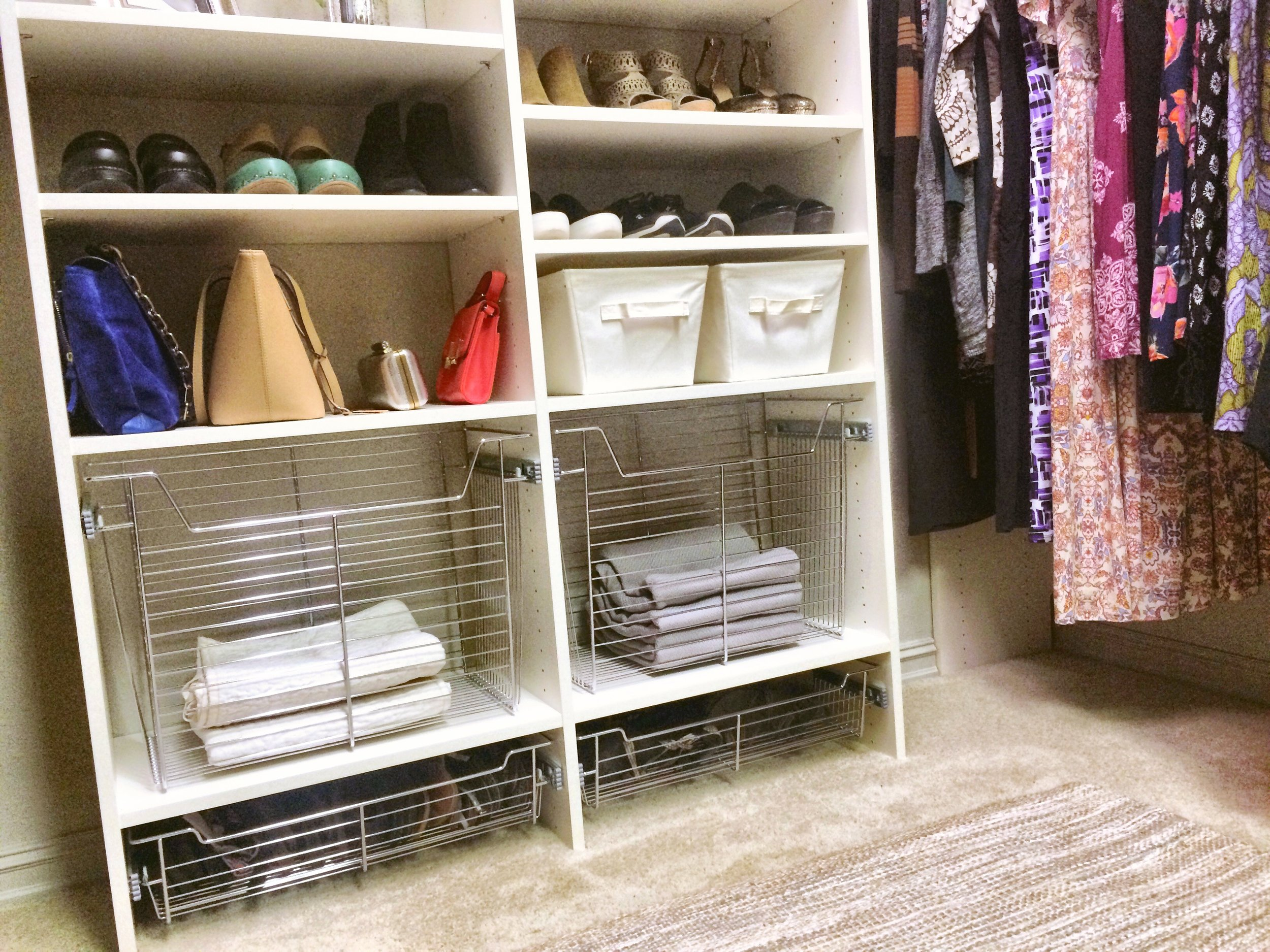 Use multiple hampers to sort clothing and stay organized.  Call Closets of Tulsa  today for a FREE consultation and 3-D closet design:  918.609.0214
