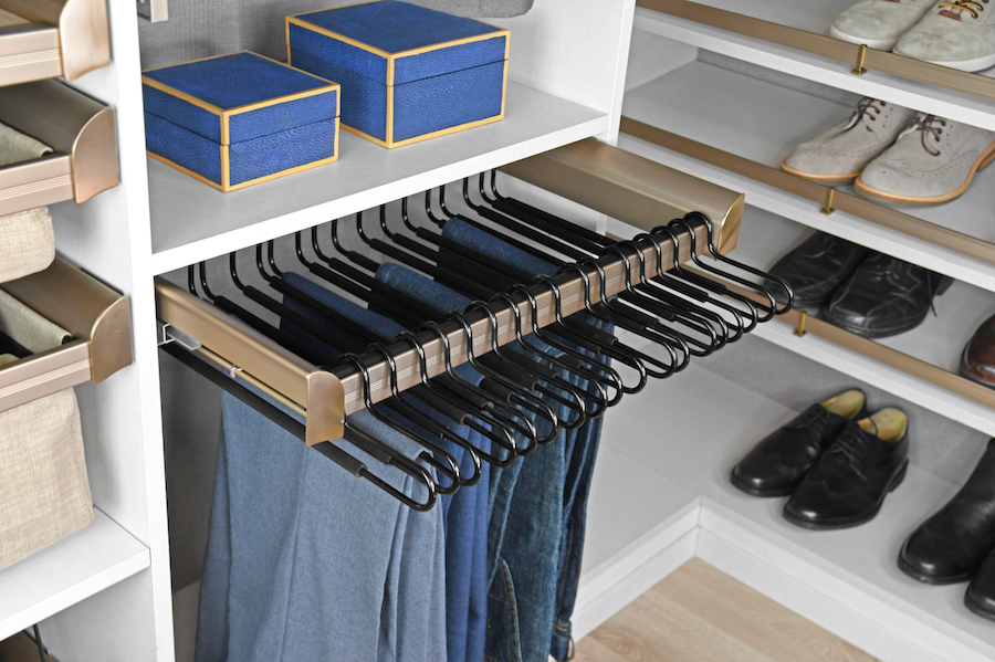 Keep pants pressed and organized with a space saving pant rack from Closets of Tulsa.  Call now  for your FREE consultation and 3-D closet design:  918.609.0214