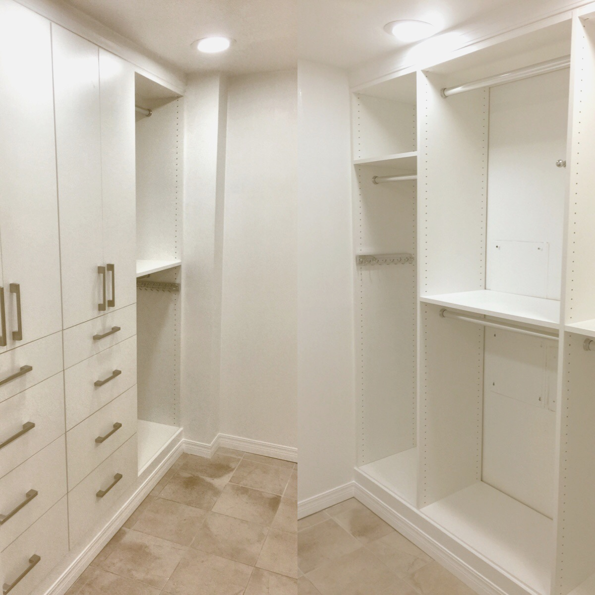 Crown and base molding, custom hardware and excellent lighting complete this classic white closet by Closets of Tulsa.  Call Closets of Tulsa  today for your FREE consultation and 3-D closet design:  918.609.0214