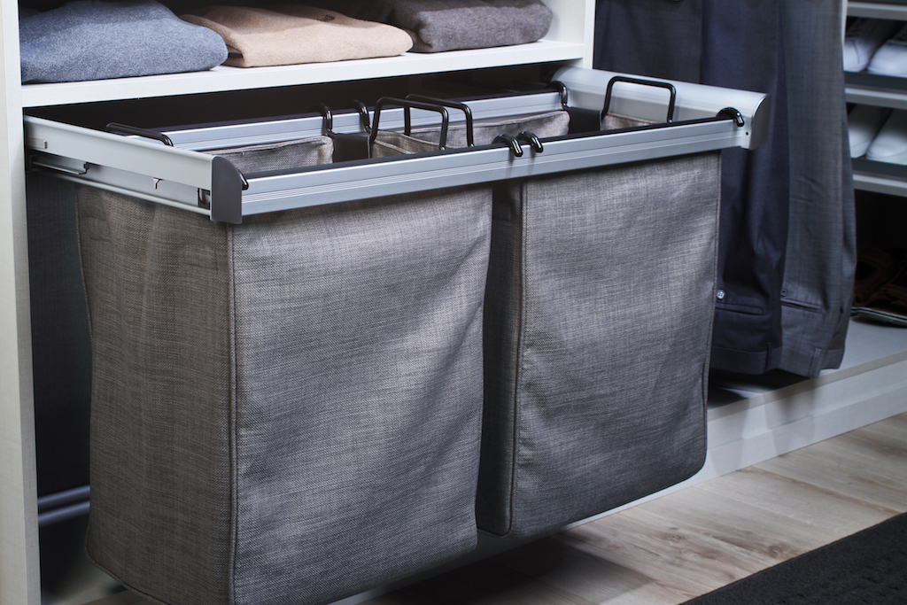 A built-in laundry hamper, storage bench or wire basket system is a great alternative to keeping your breakup basket on the floor.  Call Closets of Tulsa  today to see what's possible: 918.609.0214