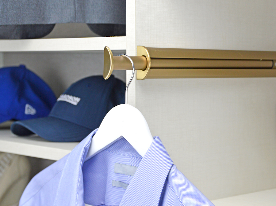 The closet valet rod from Closets of Tulsa comes in a variety of styles and finishes, including our new matte gold hardware. Call Closets of Tulsa today for a FREE consultation and 3-D closet design: 918.609.0214