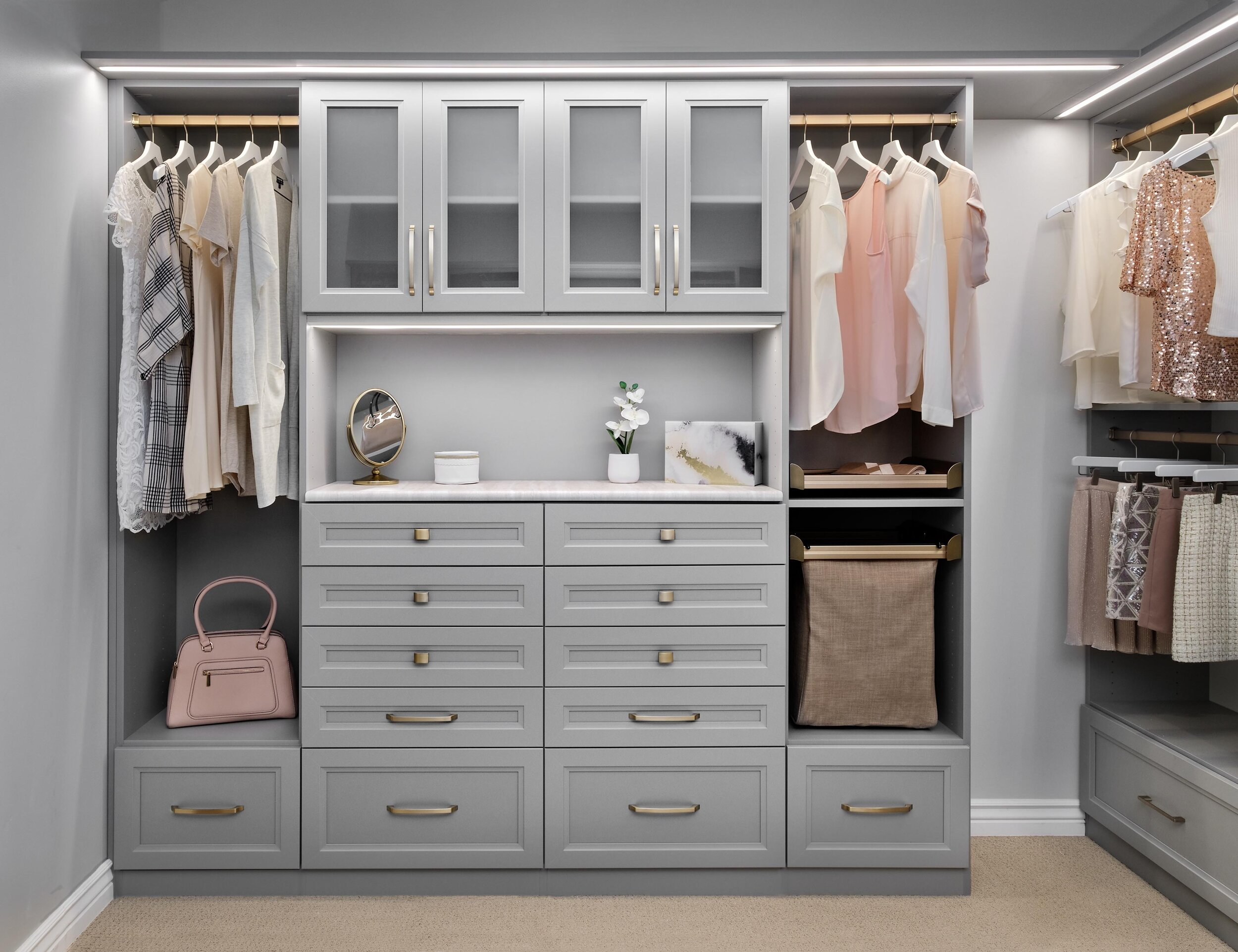 Closet lighting solutions by Closets of Tulsa transform the way you experience and use your closet.  Call now  for your FREE consultation and 3-D closet design:  918.609.0214