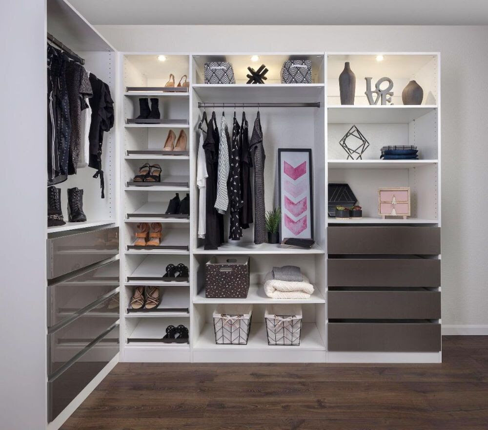 Open concept closets by Closets of Tulsa are highly customizable to your personal style and storage needs.  Call now  for your FREE consultation and 3-D closet design:  918.609.0214