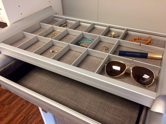 Drawer dividers and jewelry trays keep everything straight. Call Closets of Tulsa today for a  FREE virtual consultation and 3-D closet design :  918.609.0214