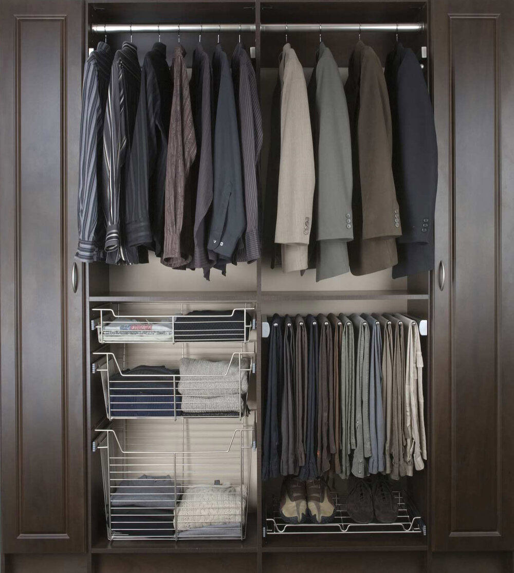 This minimalist slide out pants rack by Closets of Tulsa is shown in Brushed Stainless. Call now for a  FREE virtual consultation and 3-D closet design :  918.609.0214