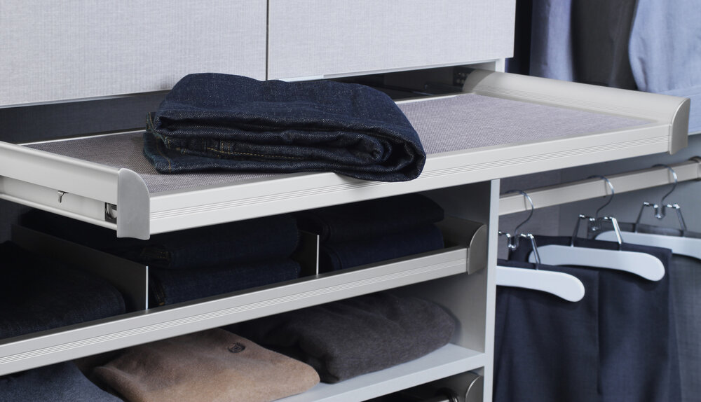 Pullout shelves make it easier to edit your wardrobe as you clean out your closet. Call Closets of Tulsa today for a  FREE virtual consultation and 3-D closet design :  918.609.0214