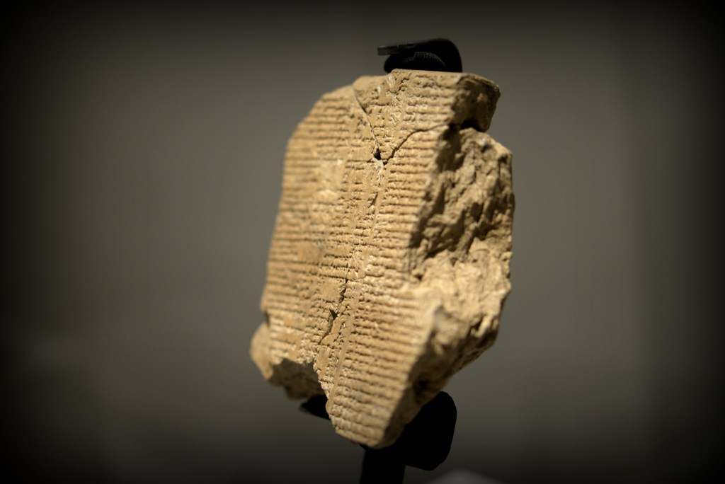 A newly discovered tablet V of the epic of Gilgamesh. The left half of the whole tablet has survived and is composed of 3 fragments. The Sulaymaniyah Museum, Iraq. Photo © Osama S.M. Amin.