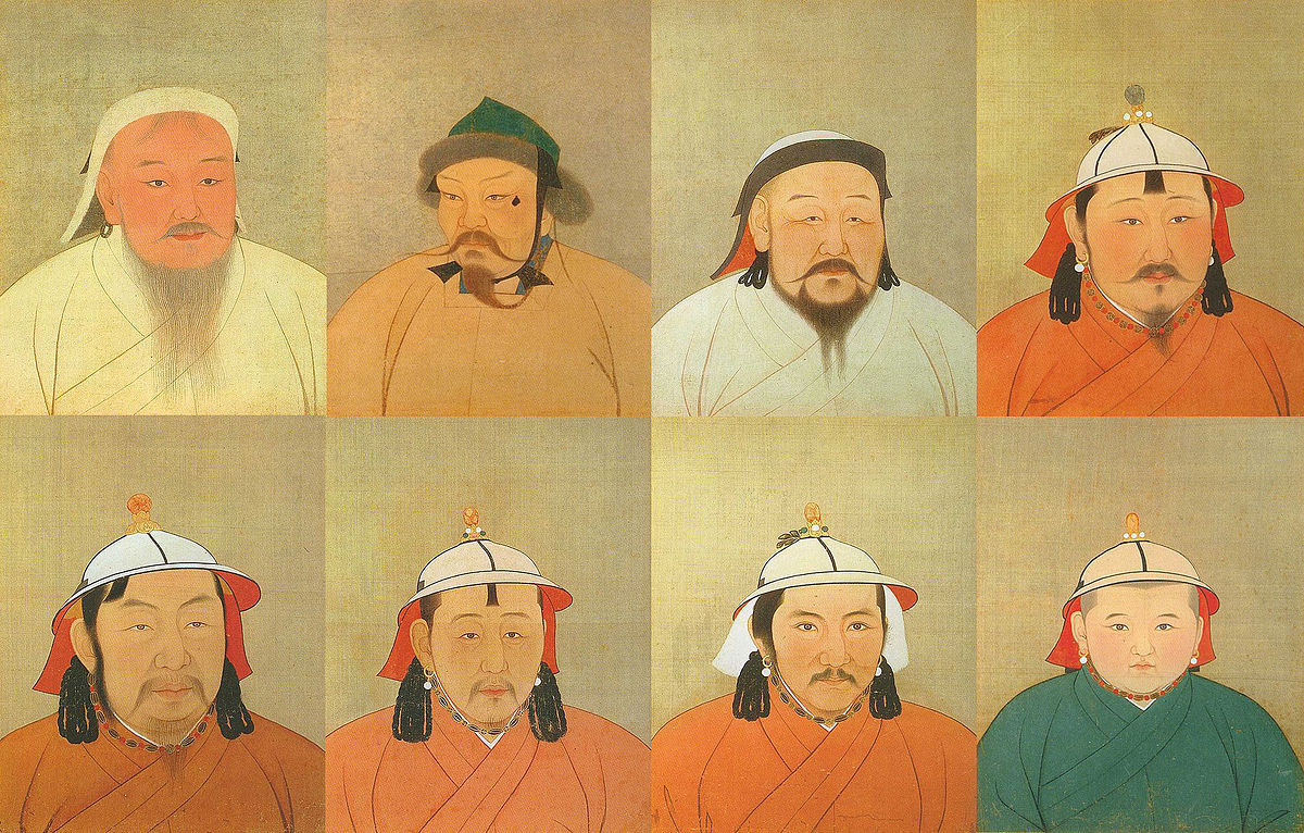 Giorgiomonteforti,  Eight of 15 Great Khagans of the Mongolian Empire , Nov 2008, Public Domain.