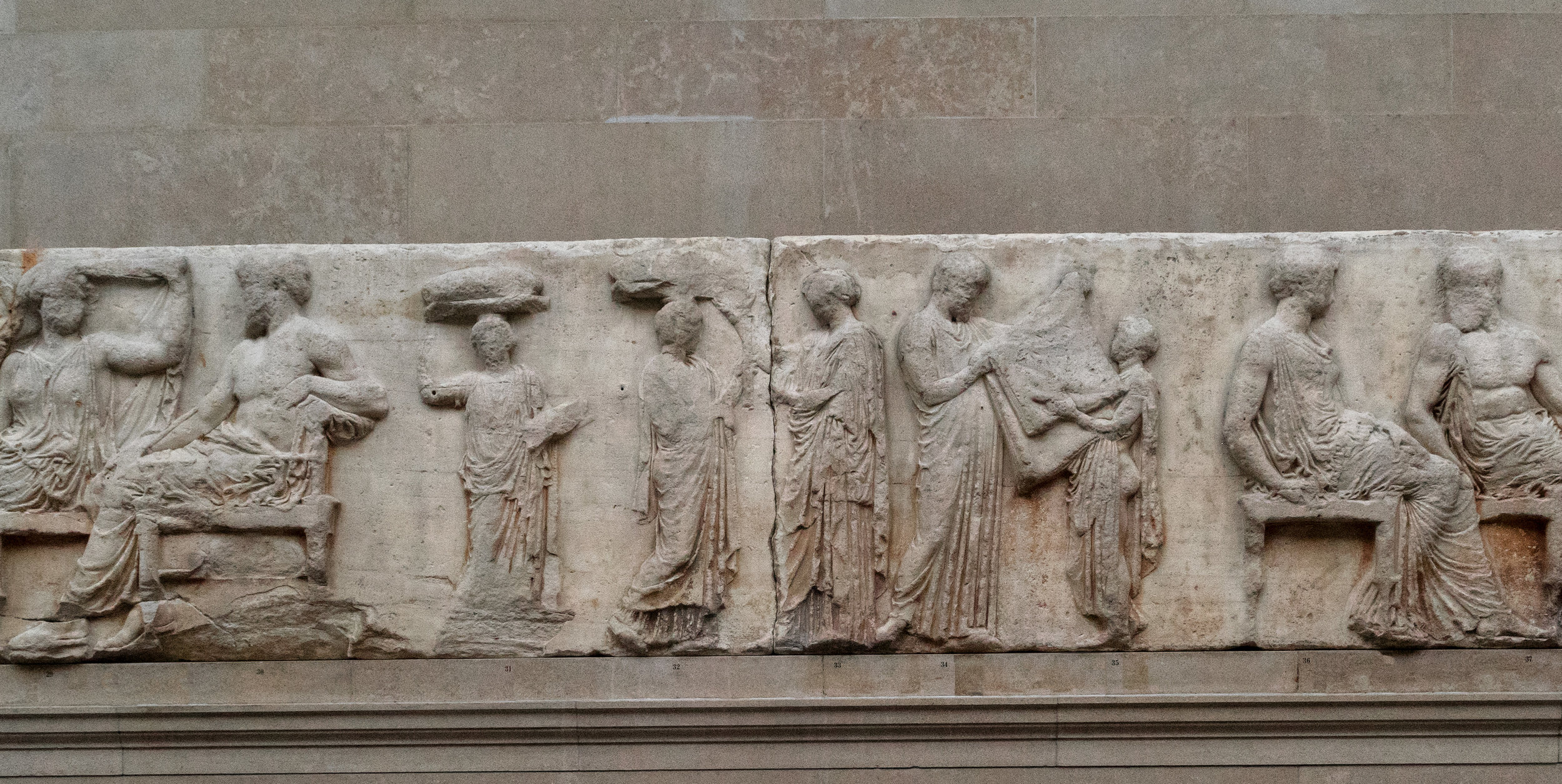 Egisto Sani,  The Parthenon - XIV East Frieze , 14 August 2014. A picture of sculpted individuals on the inner columns of the Parthenon.