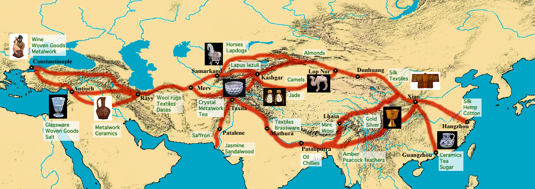 The Silk Road [Route of the Silk Road and the different commodities being traded at their places of origin]. (n.d.). Retrieved March 24, 2018, from https://travelingmatters.net/our-travel-foot-print/asia-the-civilizations-continent/china-中国/丝绸之路-silk-road-part-2/