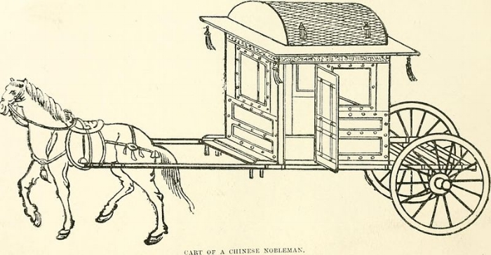 Gray,   China- a history of laws, manners and customs of the people  , (1878), The Commons. Alt Text: Ancient China horse carriage for Nobles. Horse on the left pulling a squarish carriage built with one window in front and one on the left along with a door, on two large wheels. Carriage is decorated with a strip of detailed art beneath as well as at the top of the roof and tassels at the four corners of the roof.