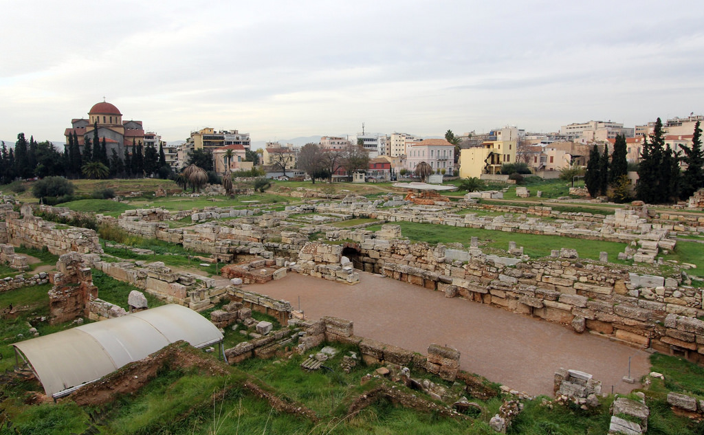 What remains of Kerameikos Cemetry, located on the outskirts of the city of Athens