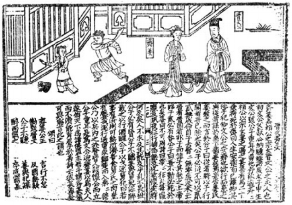 Ksyrie,  woodcut from Lienü Zhuan , (31 August 2007), Public Domain. Alt Text: A black and white page from a story of Lienü Zhuan. Top right of the picture illustrates Duke of Jin and his wife Qijiang , while the top left illustrates the maid who who was order to be executed in the story. Bottom half of the picture contains the written story.