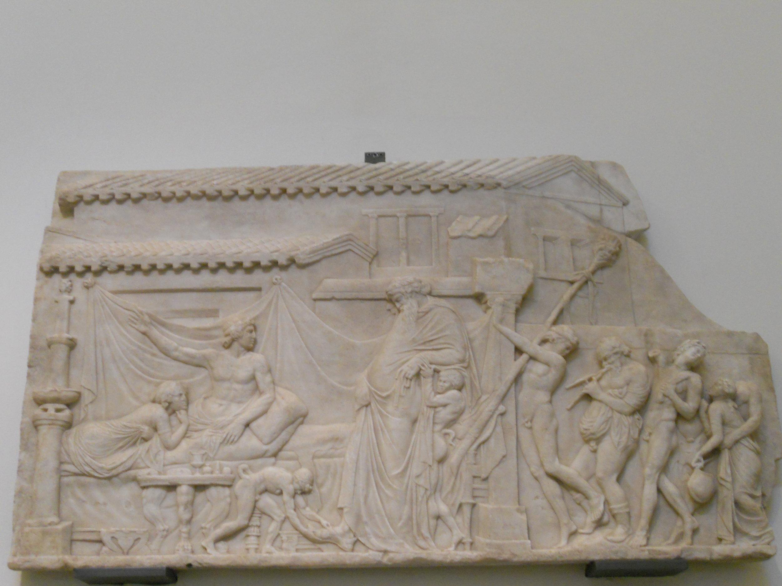 Biscardi, Denghiù.  Dionysus and Ikario , 2 November, 2010, Public Domain.  Ikarios playing host to Dionysus.