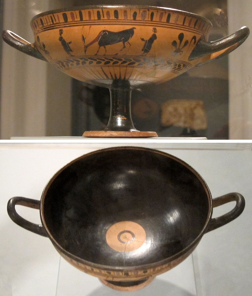 Hiart,  Black-figure terracotta kylix (wine cup), Greece. late 6th century BCE, Honolulu Academy of Arts , 1 January 2011, CC0 1.0.  Cup that was used mainly to drink wine, mixed with water (usually) at symposiums or male drinking parties.   Food for thought; Is the size/volume of this cup trying to tell us something? Maybe… overconsumption? This cup does not seem to resemble the typical narrow and small wine cups we have today.