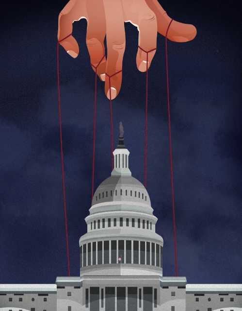 """House Of Cards,  """"Democracy is so overrated"""" , 20 April 2012. An illustration of Capitol Hill attached to a hand directly above it, with red string, behind a black and blue background."""