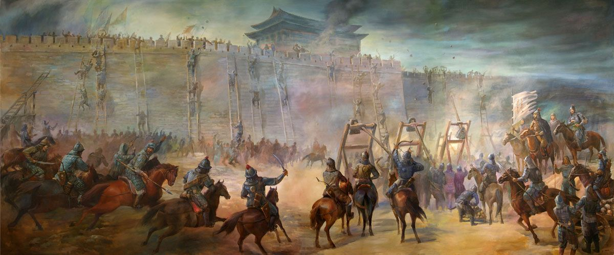 Siege of China [Digital image]. (2016, November 2). Retrieved April 25, 2018, from https://commons.wikimedia.org/wiki/File:Genghiz-khan-and-his-forces-laying-seige-and-then-attacking-a-walled-city.jpg