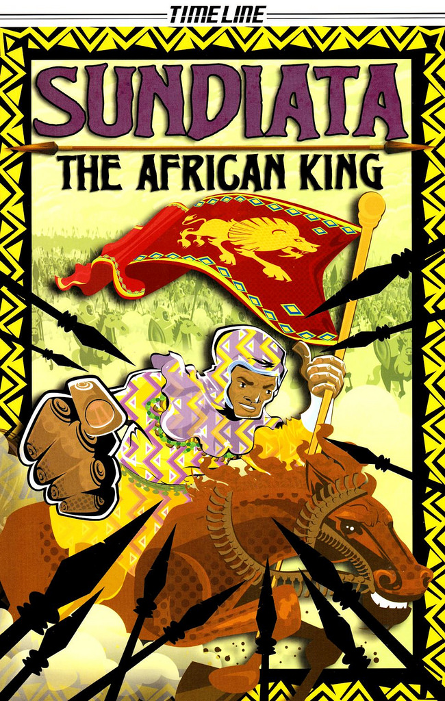 "A cartoon image depicting Sundiata with a determined expression while riding on a horse. Image reads ""Timeline, Sundiata the African King"""