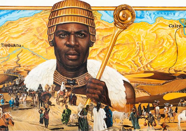 "Mansa Musa, ""The Lion of Mali"" adorned with gold jewelry and a white coat. The image is set with an African map background and ordinary people in the foreground."