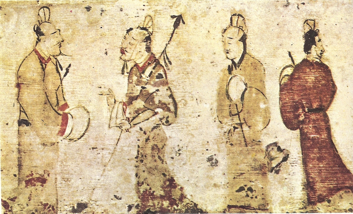 The Art of Chinese Landscape Painting (1968).  Two gentlemen engrossed in conversation while two others look on, a Chinese painting on paper near Luoyang, Henan province dated to the Eastern Han Dynasty , 25–220 CE.
