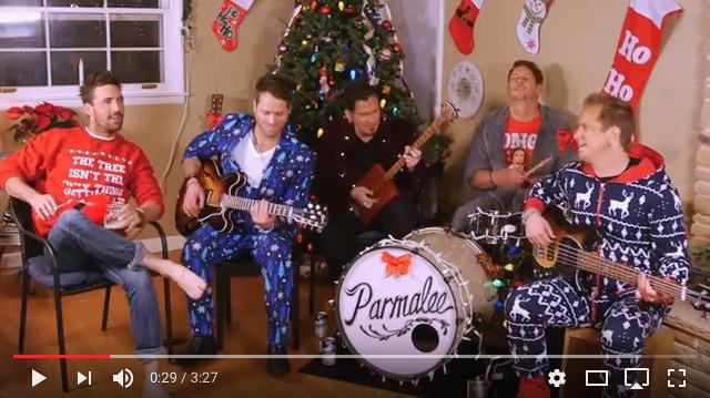 "Pictured (L-R): Jake Owen, Matt Thomas, Josh McSwain, Scott Thomas, and Barry Knox in the  ""Christmas Spirits""  video."