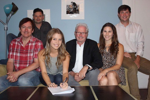 Pictured (L-R): Dave Rose, President, Deep South Entertainment; Micah Wilshire, VP of TV/Film, Young Guns Publishing; Katie Garfield; Cliff Downs, President, Young Guns Publishing; Aubrey Rupe, Creative Director, Young Guns Publishing; Will Hamrick, VP/GM, Young Guns Publishing.