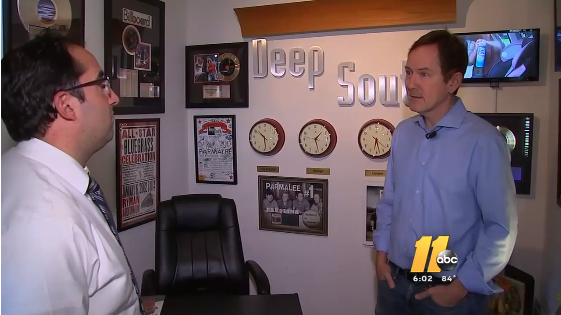 Deep South President Dave Rose speaks with ABC11's Jonah Kaplan about concert security. Photo courtesy of ABC11.