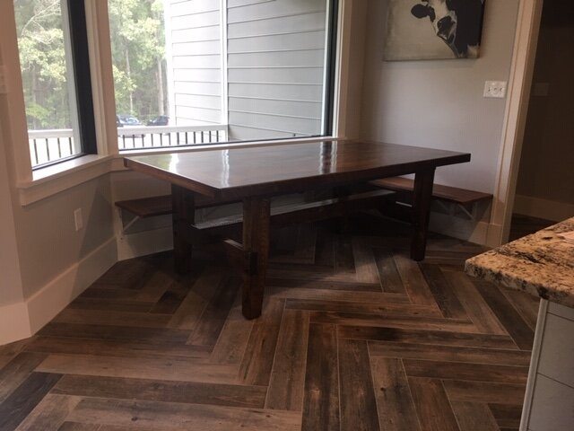 """custom table with bench seat"""