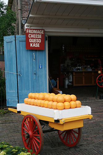 pile of cheese on cart
