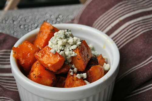 sweet potatoes with blue cheese