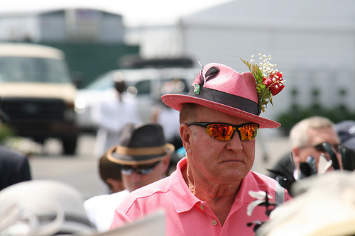 man with pink hat