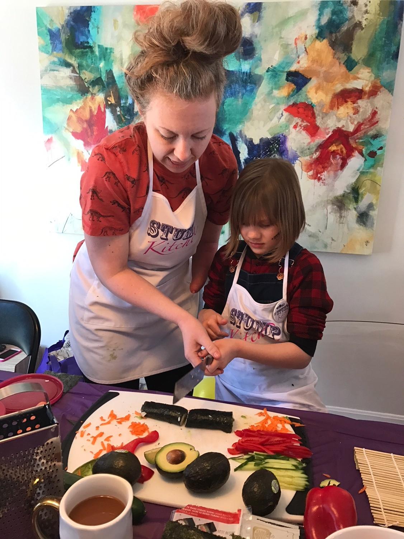 Sofia using my sharp Japanese knife like a boss!
