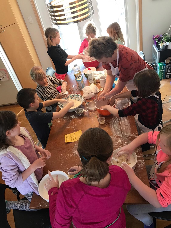 Busy mixing our edible play dough!