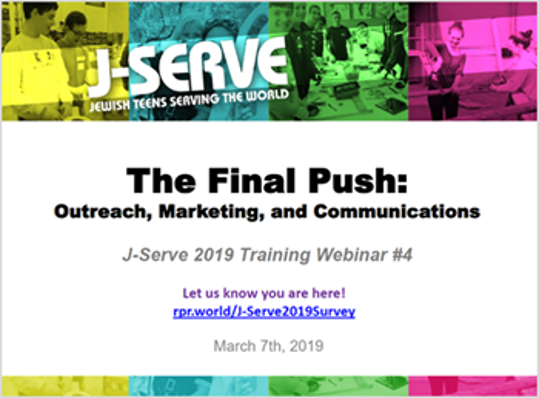 Training Webinar #4 - The Final Push: Outreach, Marketing, and Communications