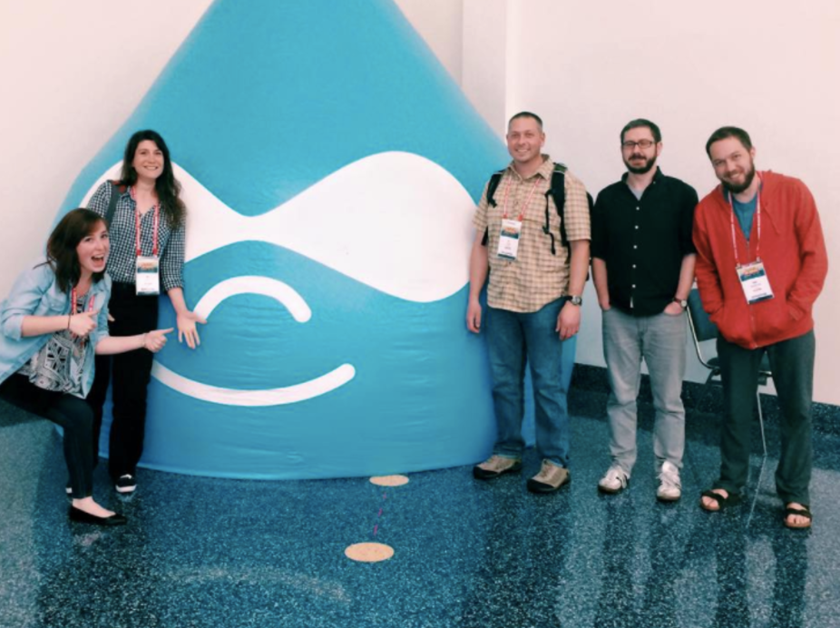 Team photo from my first month, during our team trip to LA for Drupalcon. Clearly I'm the ham of the group.