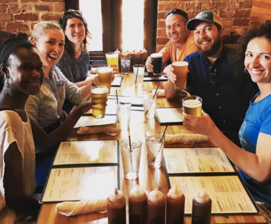 Most of the Boxcar team at Slow's BBQ in Detroit for a field trip during Hacker Fellow