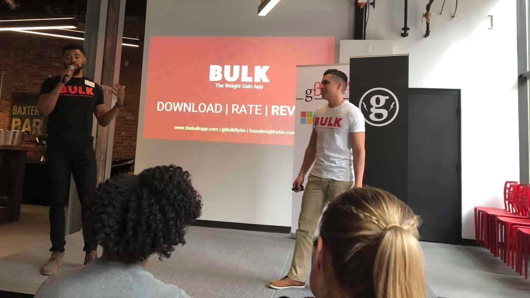 Tre and Co-Founder    Caleb Diaz    pitching Bulk. Photo via    Florida State University
