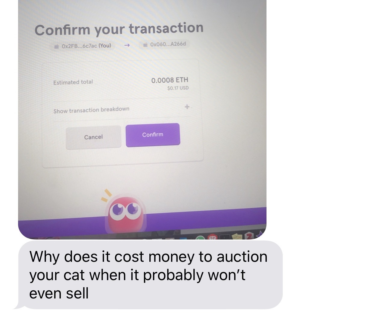 After our 2+ hours of CryptoKitty fun, she was still very confused and a little frustrated