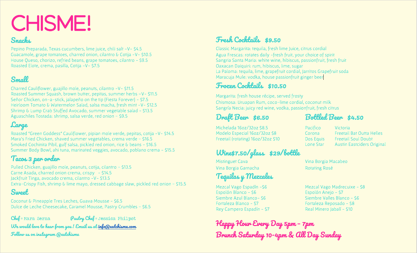 Dinner Menu.  Available Wed - Sat 5pm - 11pm