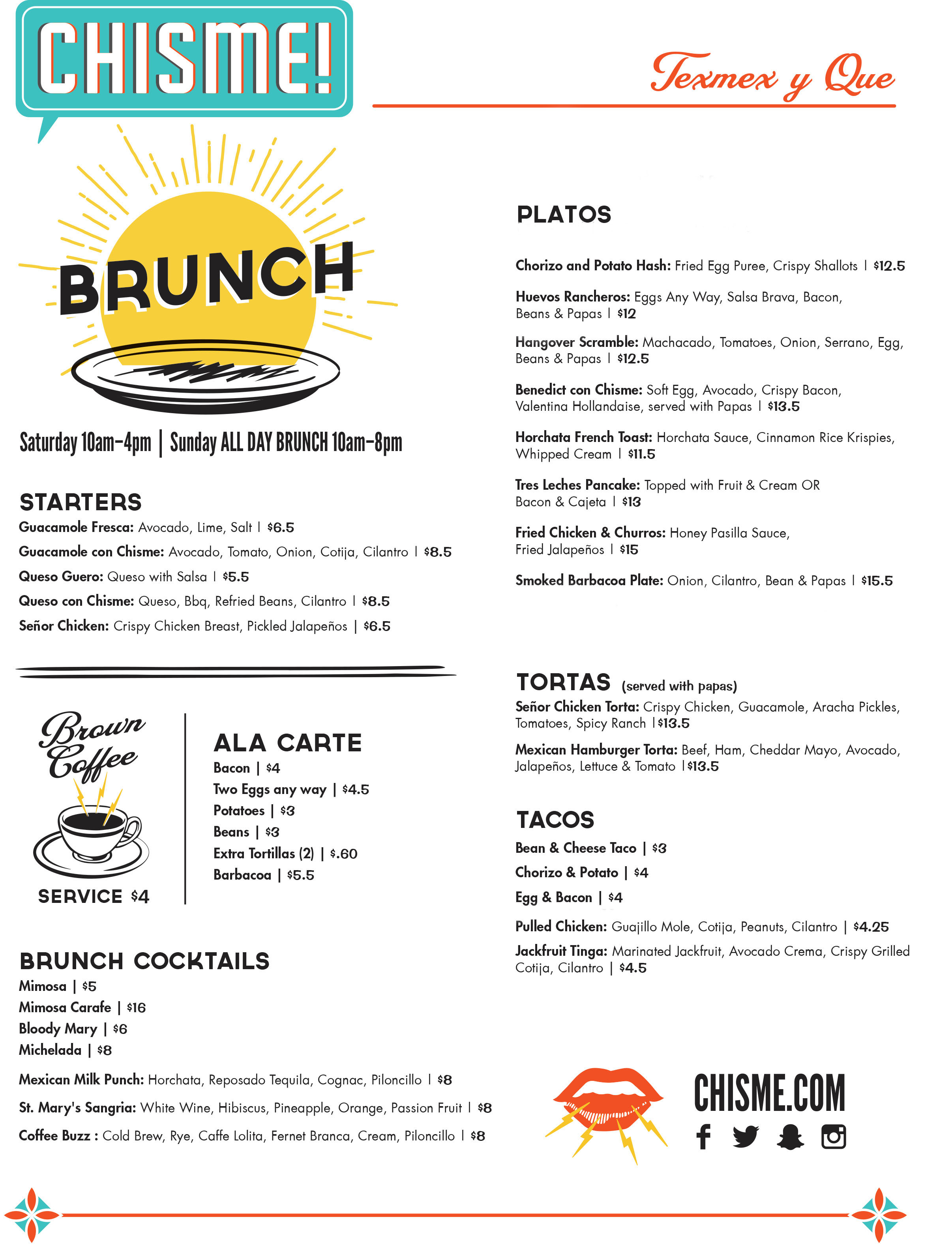 Join us for BRUNCH!  Saturday from 10am - 4pm & ALL day on Sunday!
