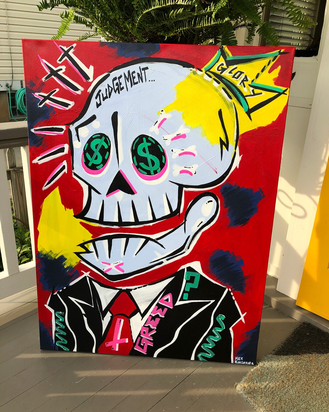 Suits  (3ft.x2ft.) - acrylic & marker on canvas - $350.00  To purchase email maxnungesser@gmail.com