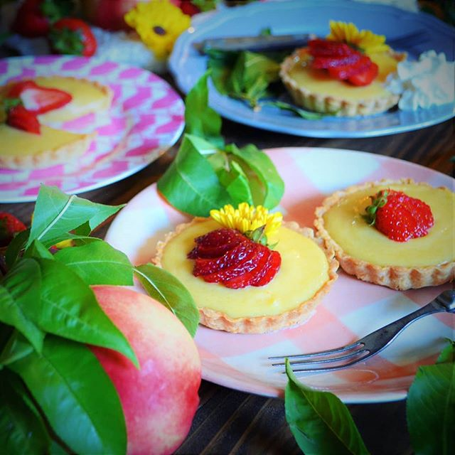 It couldn't be summer without at least one tart. For these, I tried to invent some peach curd, threw it into some shortbread tart shells, topped them with some fresh strawberries, and served them alongside big poofs of whipped cream. I put more sugar than usual in the pastry, and less in the curd - that paired with the tang of the peaches and strawberries gave the tarts great balance! I ate two of them as dessert after downing a massive steak 🤤 #BackyardBBQ #Peaches #Curd #SummerTart #Pastry #Baking #StrawberrySeason #SummerFruits #SoMuchButter #Like3SticksOfButter #ImpendingHighCholesterol #DiabetesImminent #PleaseSirCanIHaveSomeMore #KillEmWithButter #ImperfectProduce #KitchenDisaster #SpentLikeThreeHoursCleaning  #IWouldEatTheseOffTheFloor