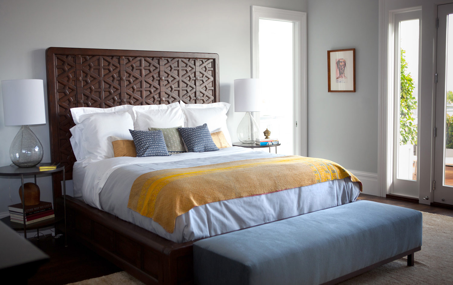 bedroom, bed, headboard, bedside tables, throw pillows, bedside lamps